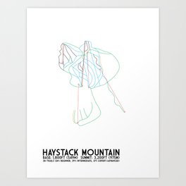 Haystack Mountain, VT - Minimalist Winter Trail Art Art Print