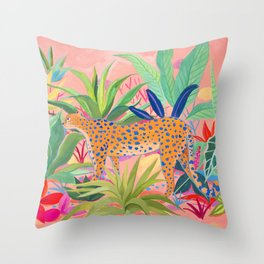 Leopard in Succulent Garden Throw Pillow