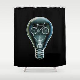 Dark Bicycle Bulb Shower Curtain