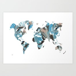 Watercolor World Map (brown/blue/white) Art Print