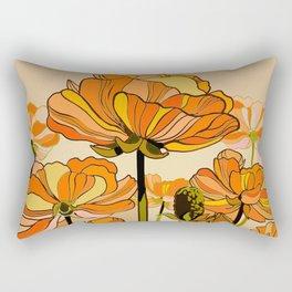 Orange California poppies, mid century, 70s retro, flowers Rectangular Pillow