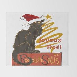 Joyeux Noel Le Chat Noir With Stylized Golden Tree Throw Blanket
