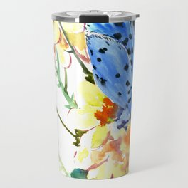 Holly Blue Butterfly and Yellow Flowers Travel Mug