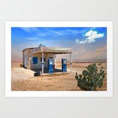 Gas Station Ghost Town in Desert Art Print