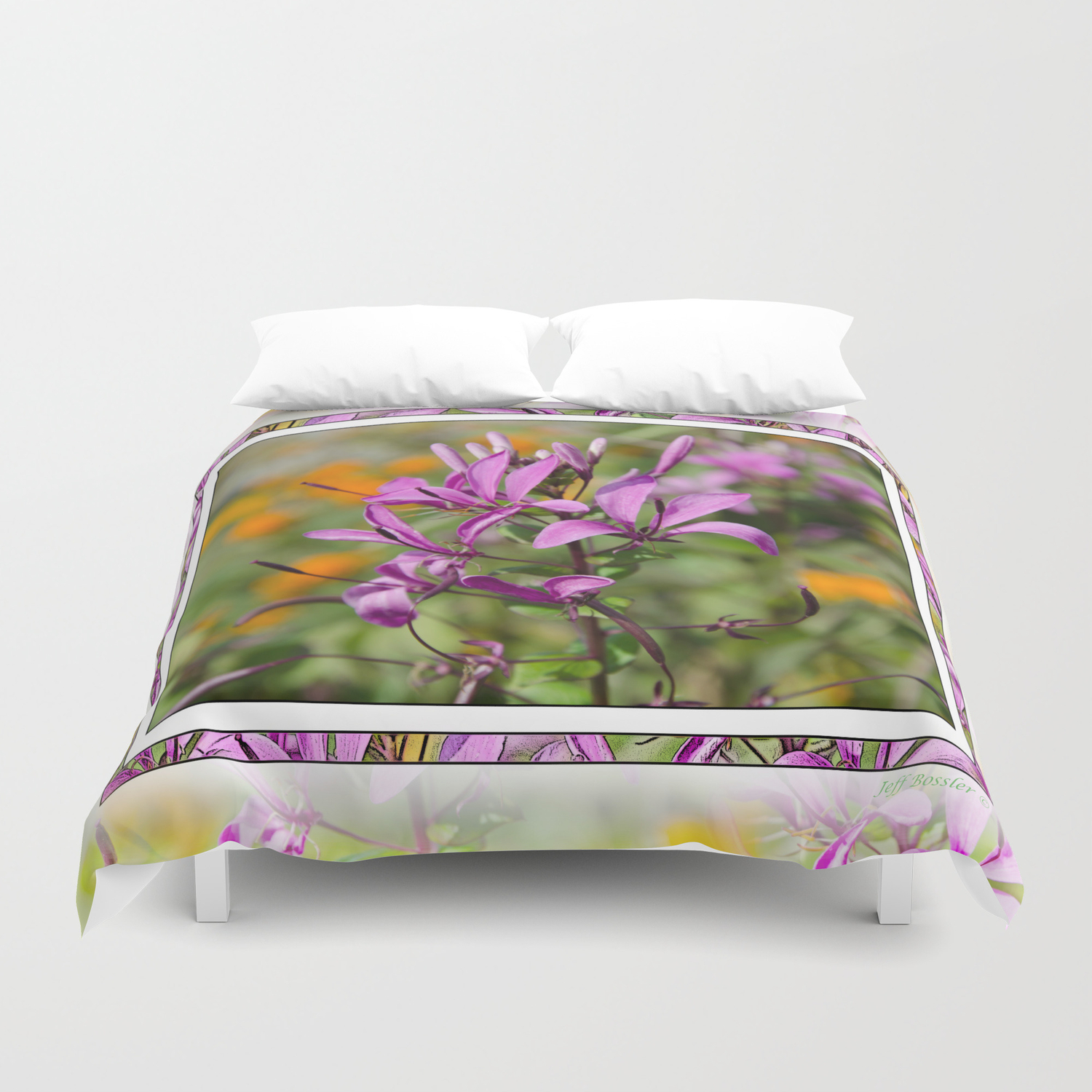 Pastel Purple Flower Duvet Cover By