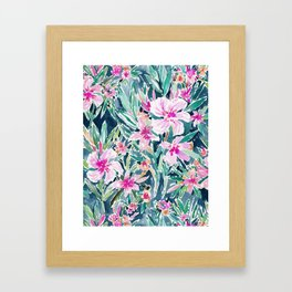 LUSH OLEANDER Tropical Watercolor Floral Framed Art Print