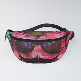 vintage old skull portrait with red and blue flower pattern abstract background Fanny Pack