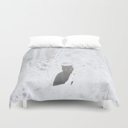 Black Cat White Snow #decor #society6 Duvet Cover