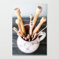 knitting Canvas Prints featuring Knitting by Josefin Johnsson
