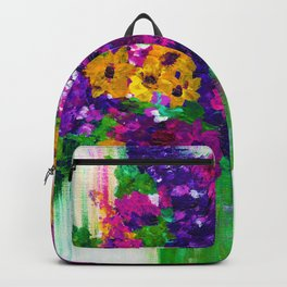 Colorful painted bouquet of flowers Backpack