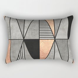 Concrete and Copper Triangles Rectangular Pillow