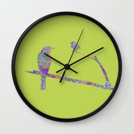 Bird and Birdie on Branches Chartreuse Purple Orange Turquoise Teal Wall Clock