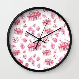Girly pink teal festive watercolor cupcake funfair Wall Clock