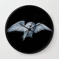 hedwig Wall Clocks featuring Hedwig by Ashley Lick