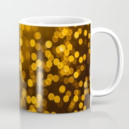 Gold Glitter Sparkle Bokeh Blurred Lights Shimmer Shiny Dots Spots Circles Out Of Focus Coffee Mug