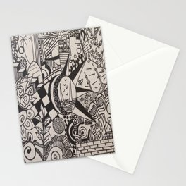 doodles black and white Stationery Cards