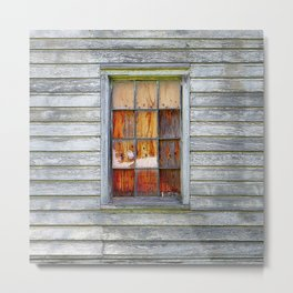Barn Window with Plywood Metal Print