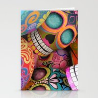 sugar skulls Stationery Cards featuring sugar skulls by wet yeti