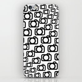 Photography Obsession, Camera Pattern Black and White Vector iPhone Skin