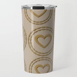 Cute Gold Hearts Pattern Linen Travel Mug