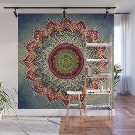 Retro Folk Art - Spirit Lotus Mandala Blue Red Wall Mural