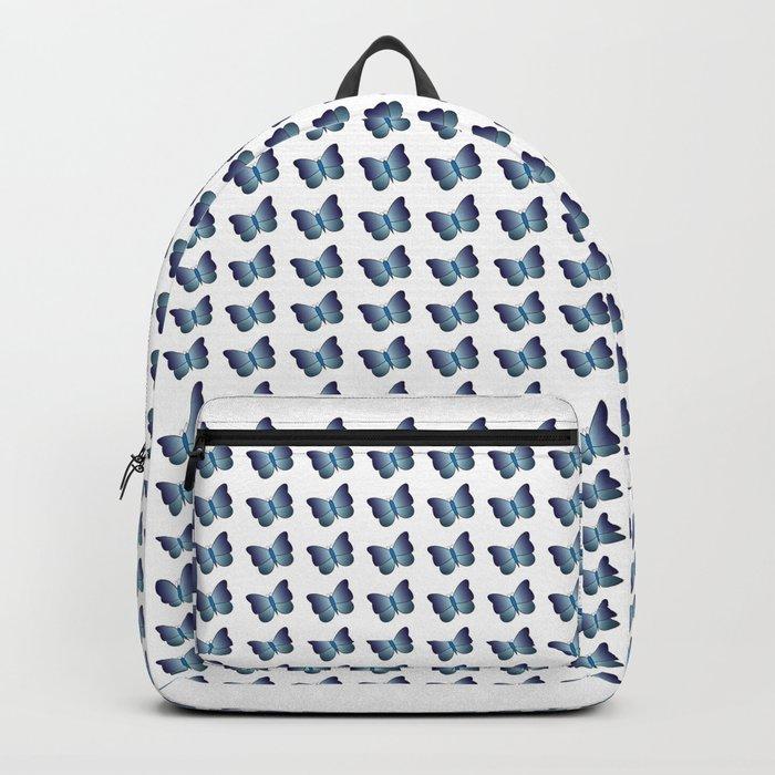 Elegant Little Light And Dark Blue Butterflies Pattern On A White Background Backpack By Lovelka