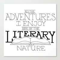 literary Canvas Prints featuring Literary Adventures by Drop and Give Me Nerdy