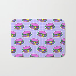 Psychedelic burger / Blue Grid Bath Mat