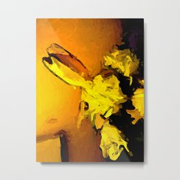 Yellow Flowers in Gold Light with an Orange Wall Metal Print