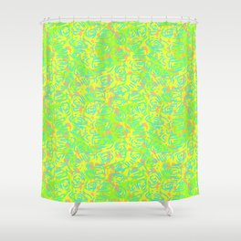 90's Neon Abstract Turtle Shells in Fluorescent Yellow Shower Curtain
