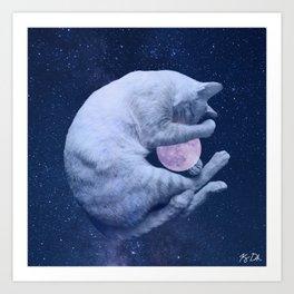 Cuddly Moon Cat Art Print