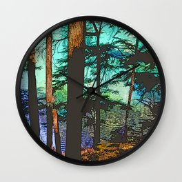 MOUNTAIN LAKE THROUGH HEMLOCK TREES Wall Clock