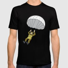 American Paratrooper Parachute Cartoon Mens Fitted Tee SMALL Black