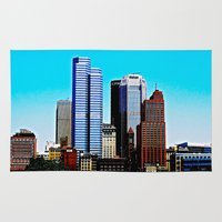 pittsburgh Area & Throw Rugs featuring Pittsburgh Morning by Biff Rendar