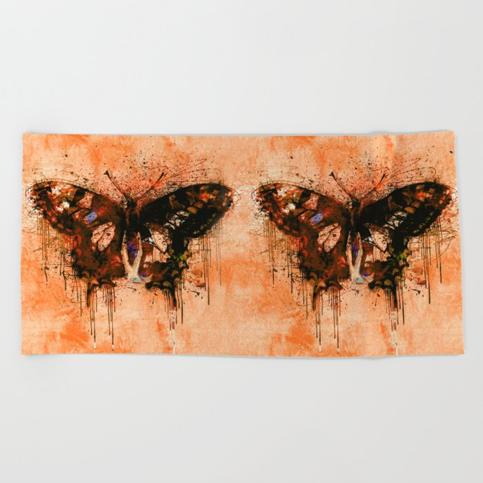 artistic watercolor butterfly painting artwork Beach Towel