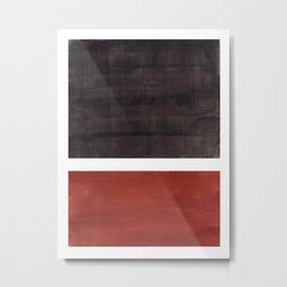 Colorful Bright Minimalist Rothko Color Field Midcentury Modern Brown Black Square Vintage Pop Art Metal Print