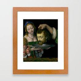 Salome with the Head of Saint John the Baptist - Andrea Solario Framed Art Print