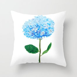 abstract blue hydrangea watercolor Throw Pillow