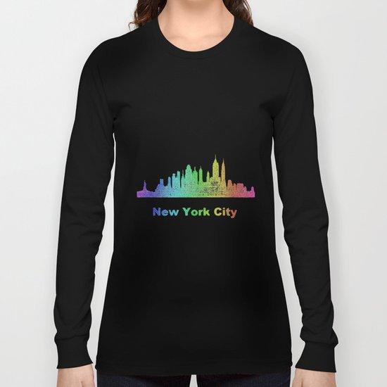 Rainbow New York City skyline Long Sleeve T-shirt