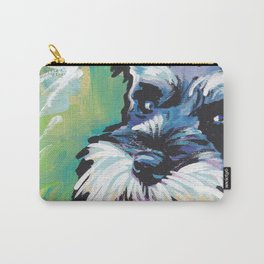 Fun Schnauzer Dog Portrait bright colorful Pop Art Painting by LEA Carry-All Pouch