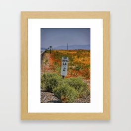 Lander County mile marker along highway 376 in Nevada Framed Art Print