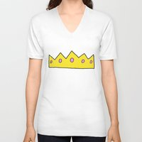 crown V-neck T-shirts featuring Crown by elysiancreations