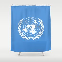 Flag on United nations -Un,World,peace,Unesco,Unicef,human rights,sky,blue,pacific,people,state,onu Shower Curtain