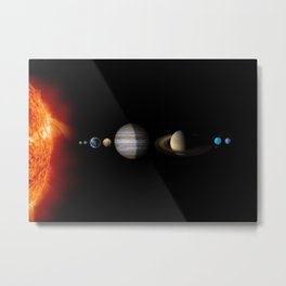 Solar System on black background with all the planets and the sun Metal Print