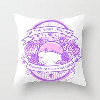 kendrawcandraw Throw Pillows featuring Be the Shiny by kendrawcandraw