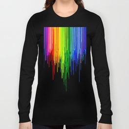 Rainbow Paint Drops on Black Long Sleeve T-shirt