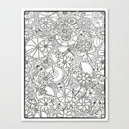 Koi Pond Coloring Page Canvas Print