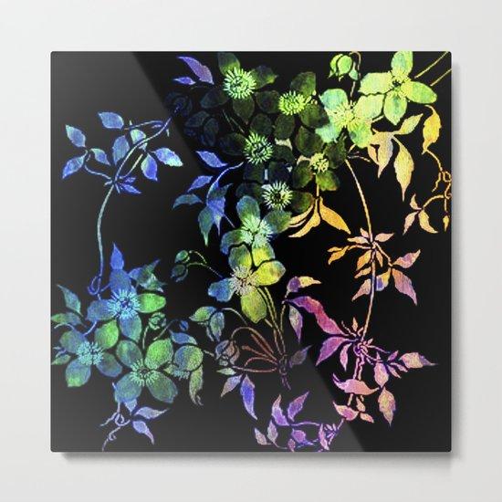 garland of flowers black version 2 Metal Print