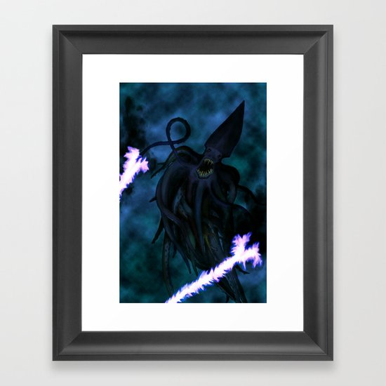 Squid Wizard Framed Art Print
