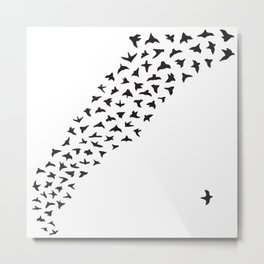 Flock of Birds // Black Metal Print